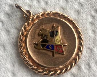 MASONIC Watch Fob * Knights of Pythias Antique Rose G.F.