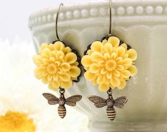 Yellow Mum Flower Bee Dangle Earrings, Antiqued Brass Bumble Bee Earrings, Honeybee Bee Lover Bee Keeper Gift for Her