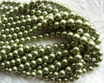 Round Swarovski Pearls, 6mm Light Green Austrian Crystal Pearl Beads, One Strand 100 Pcs., Perfect for Pea Pod Jewelry
