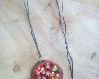 Necklace polymer clay pizza