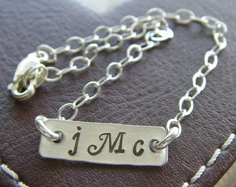 "Custom Monogram Initial Bracelet - Personalized Sterling Silver Hand Stamped Charm Jewelry - 3/4"" Bar with Optional Birthstone"