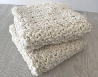 100% Cotton Washcloths - Set of 2 - Ecru
