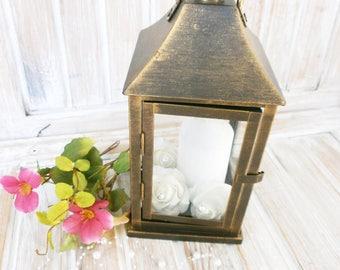 Home decor Lantern Rustic Lantern Gold Wedding Lantern Rustic Wedding Centerpiece Vintage Home Decor Rustic Candle Holder