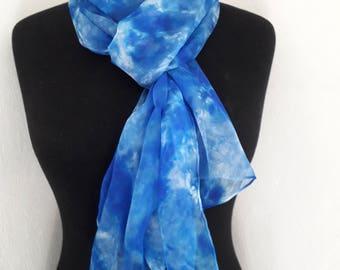 Hand painted 100% silk chiffon scarf
