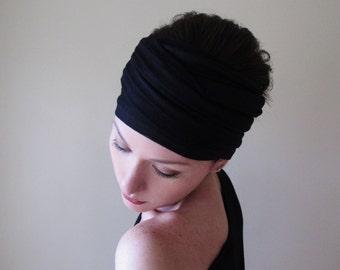 BLACK Jersey Head Scarf, Extra Wide Yoga Headband, Boho Headband, Boho Head Scarf, Extra Wide Headbands for Women, Black Turban Headband