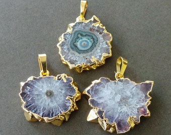Amethyst Agate Stalactite Druzy Slice 22k Gold  Dipped Pendant A