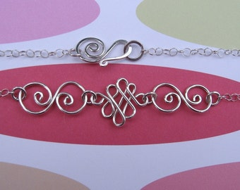 sterling silver necklace with bent wire swirly shapes  doodle swirls - Grace