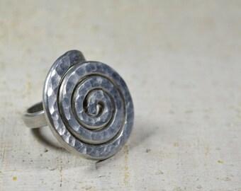 SPIRAL RING silver Aluminum spiral RING Adjustable aluminum ring Silver ethnic jewelry spiral aluminum vortex ring aluminium jewelry wedding