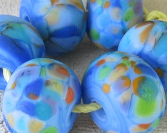 Bluebonnets Lampwork Spacer Handmade Glass Beads Periwinkle orange green Choice 2 4 5 or 6 beads
