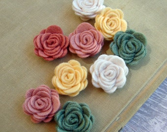 Wool Felt Fabric Flowers - Mini Summer Bride Posies - The Original Wool Felt Posies