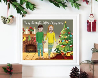 Twas the Night Before Christmas, Inspirational Holiday wall art. Printed from whimsical drawing of Boy & Girl holding hands at fireplace.