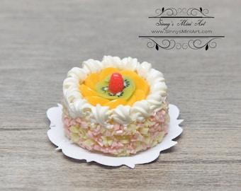 1:12 Dollhouse Miniature Peach Cream Topped Cake BD K2081