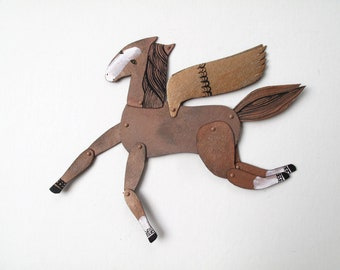 Mini Chestnut Winged Horse  / Hinged Beasts Series
