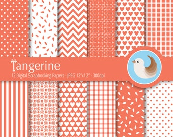 Orange Digital Paper Set - Tangerine Digital Paper - Orange and White Digital Paper - Set of 12 Digital Scrapbooking Papers