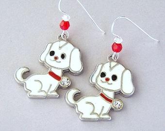 White dog earrings, enameled dog charm earrings, Swarovski crystal elements