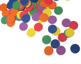 rainbow sprinkles confetti, over the rainbow, polka dots, spots, round confetti, circles, table scatter, birthday party decorations, 100CT