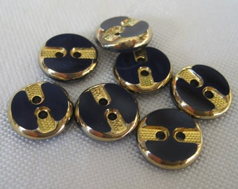 Set of 7 Small VINTAGE Navy Blue with Gold Trim Glass BUTTONS