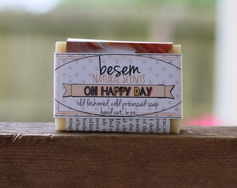Oh Happy Day soap // sweet orange, vanilla, natural, cold process soap, artisan, palm free soap