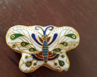 Vintage Cloisonne butterfly trinket box, Featuring Cobalt blue, green, red, white, gold enamel Great find