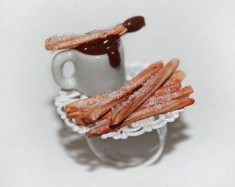 Chocolate Churros and Hot Cocoa Ring - Food Ring - Kawaii Ring - Miniature Food Jewelry