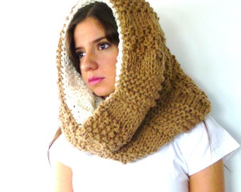 Knit hooded scarf. Chunky cowl scarf. Reversible wool snood. Beige knitted scarf. Gift idea for her