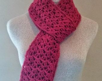 Crochet red skinny scarf, knit red skinny scarf, red wool crochet scarf, warm red wool knit scarf, holiday wear, women's wool crochet scarf