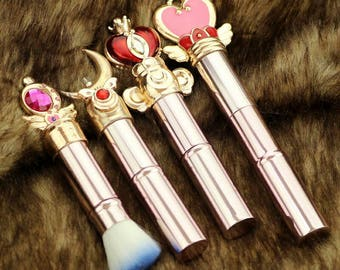 4 pcs Rose Gold Sailor moon jewelry Telescopic Makeup cosmetic brush moon/feathered wings/crystal/magic wand Women's gift
