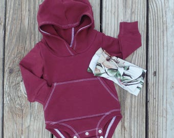 Burgundy baby girl outfit || Coming home outfit || Baby girl clothes || Girl clothes || Take home outfit || Hoodie bodysuit