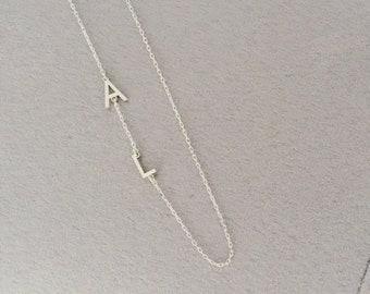 Sideways Silver Initial Necklace- Name Necklace, Silver Necklace, Initials Necklace, Letter Necklace, Custom Jewelry