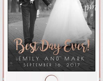Rose Gold Wedding Snapchat Filter, Best Day Ever! Snapchat Geofilter, Snapchat Filter, Custom Geofilter, Custom Snapchat Filter