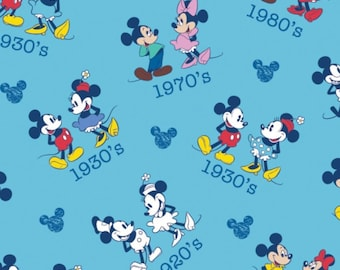 """Disney Fabric: Disney Mickey mouse and Minnie Ideal Couple Blue from 1920's Mickey Heads 100% cotton Fabric by the yard 36""""x43""""  (SC390)"""