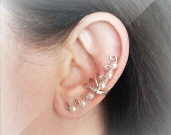 Silver Ear Cuff Silver plated Ear Wrap Pearls