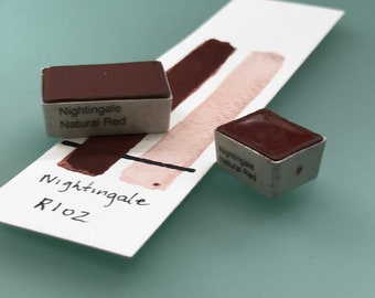 Handmade Watercolor paint Nightingale Natural Red artist paint HALF and WHOLE pans - Non toxic