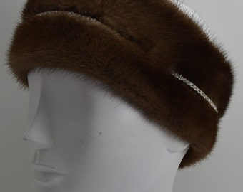 Demibuff Mink Fur Headband with rhinestones made in the usa demi buff