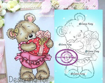 Digital Stamp, Digi Stamp, Digistamp, Bella With Gift Conie Fong, Coloring, Teddy Bear, Love, Valentines, Heart, birthday, Mother's Day