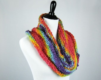 Rainbow Cowl, Hand Knit Cowl, Infinity Scarf, Textured Wool Yarn, Warm, Handmade Gift, Cozy Wrap, Winter Wear, Bright Rainbow Colors, Soft