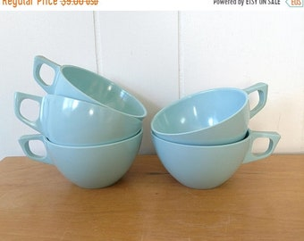 MEMORIAL DAY SALE vintage light aqua blue melmac cups