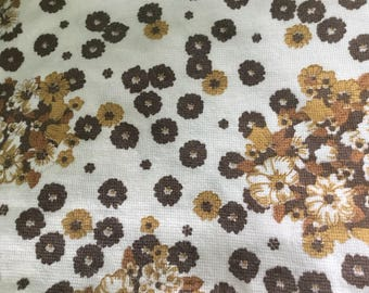 "Vintage pair of brown & white floral curtains, retro 1960s 1970s design 62"" x 48"""