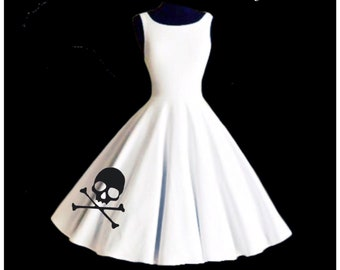 Sale! SKULL & CROSSBONES  Wedding Party Dress, White Satin Applique Party Dress by Hardley Dangerous Couture, 1950s Style Pin Up Party Dress