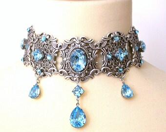 Aquamarine Swarovski Choker - More Colors - Victorian Bridal Silver Choker - Bridal Necklace - Gothic Jewelry - Wedding Jewelry