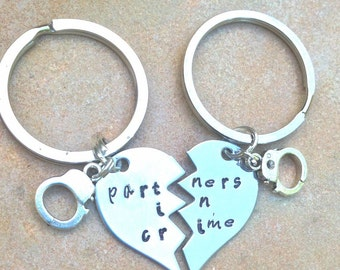 Mother's Day Gifts, Father's Day Gifts, partners in crime, Boyfriend Gift, Personalized Keychain, partners in crime, gifts for men