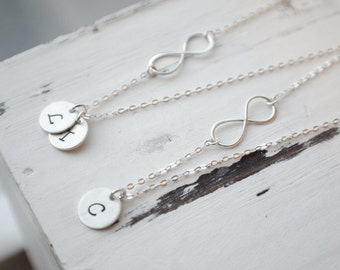 Silver Infinity Best Friend Necklace | Infinity Initial Necklace | Sister Initial Necklace | Hand Stamped Initials | One-sided infinity |