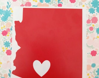 Arizona state vinylndecal heart red sticker