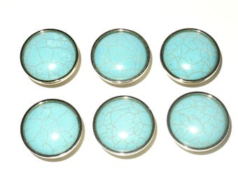 TURQUOISE HOWLITE Cabinet Knobs - Stone Pulls - Home Décor