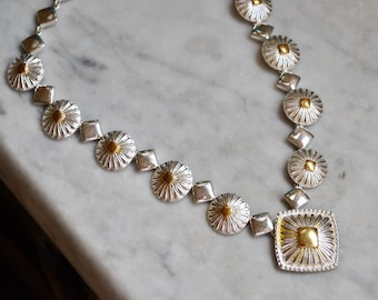 Avon Gold and Silver Flower Necklace