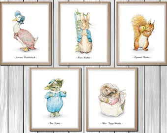 "Peter Rabbit Nursery, Set of 5, Beatrix Potter Nursery, Peter Rabbit, Instant Download, Printable Nursery Decor, Beatrix Potter,  8x10"""