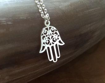 Hamsa - necklace with a beautiful Hamsa hand pendant. Silvertone, cute, steel, good luck, protect, decorative, cut-outs