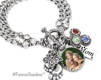 Custom Charm Bracelet for Mom, Personalized Jewelry, Photo Jewelry, Quote Bracelet, Personalize with Photo, Quote, Crystals, Engraved Charm