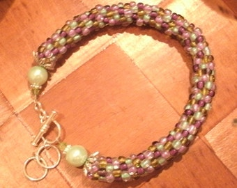 Mauve and Olive Bead Crochet Bracelet or Anklet