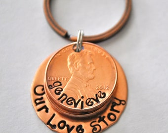 Our Love Story Lucky Copper Penny Keychain with Names and Years